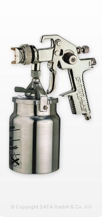 Sata jet H mit 1,0 Liter Aluminium Hängebecher
