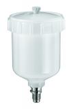 SATA Kunststoffbecher 125ccm QCC für SATAminijet 1-4, Dekor 2000 und SATAjet 20B mit Deckel und Tropfsperre.