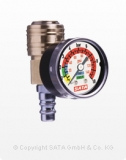SATA Spritzluftkontrollmanometer mit Schnellkupplung und Nippel
